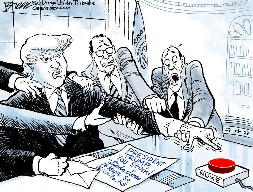 在民主党议员提出限制总统对于核武器的指挥权的时候,美国《圣迭戈联合论坛报》出了一张众人阻止特朗普按下核按钮的漫画