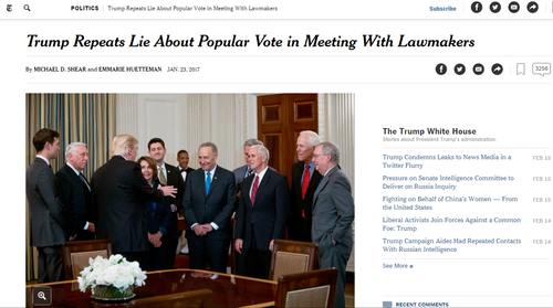 """《纽约时报》多次在特朗普相关报道中使用""""说谎""""一词。"""