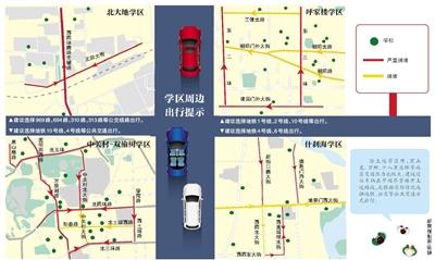 新京报讯 (记者郭超)下周开始,学校将陆续开学,早晚高峰校园周边交通压力将有明显的增加,特别是周一适逢尾号4、9限行,早高峰的市区交通压力将尤为突出。
