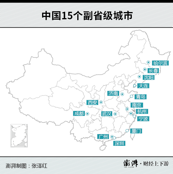 中国15个副省级城市(空心点:非省会的副省级城市;实心点:既是省会又是副省级城市)
