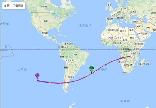 此次日环食始于东南太平洋,穿过南美洲的智利和阿根廷后进入南大西洋,结束于非洲西南部。