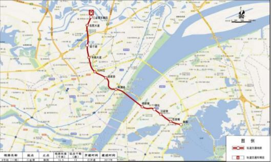 7km,共设12 座车站,起于武汉市三金潭,沿盘龙大道,宏图路,中一路,黄浦