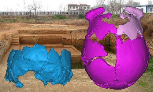 河南许昌发现的两个人头骨的3D复原图片。新华社发