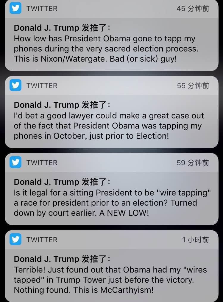 【环球网快讯 记者 赵衍龙】特朗普美国时间3月4日在其推特上连发四条推文向奥巴马发难,slow german其在推文中称在美国大选投票之前,slow german前总统奥巴马就已经在特朗普大厦对其进行了监听。