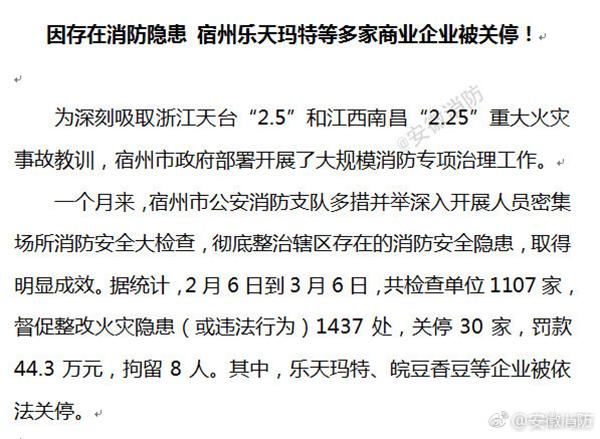 安徽两地乐天玛特被依法关停或临时查封