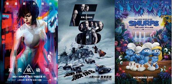 《攻壳机动队》、《速度与激情8》、《蓝精灵:寻找神秘村》四月内地公映