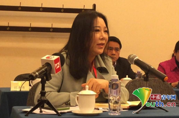 全国政协委员陈晓颖在3月7日经济界别小组讨论中发言。澳门青年网记者 吴楚 摄