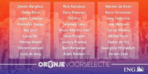 荷兰队大名单