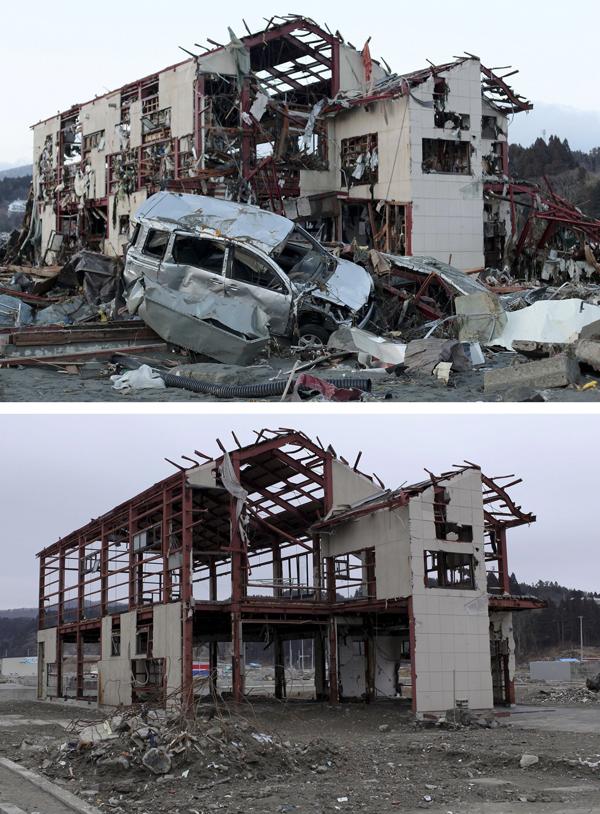 2012年3月8日,日本南三陆町,上图是2011年3月16日废墟旁一辆被严重损害的汽车,下图为一年后此地的情景。 视觉中国 资料图