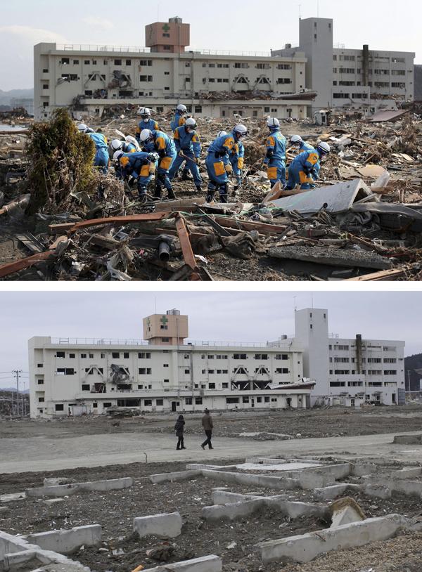 2012年3月8日,日本南三陆町,上图是2011年3月16日警察救援队在一片废墟进行搜救,下图为一年后此地的情景。 视觉中国 资料图
