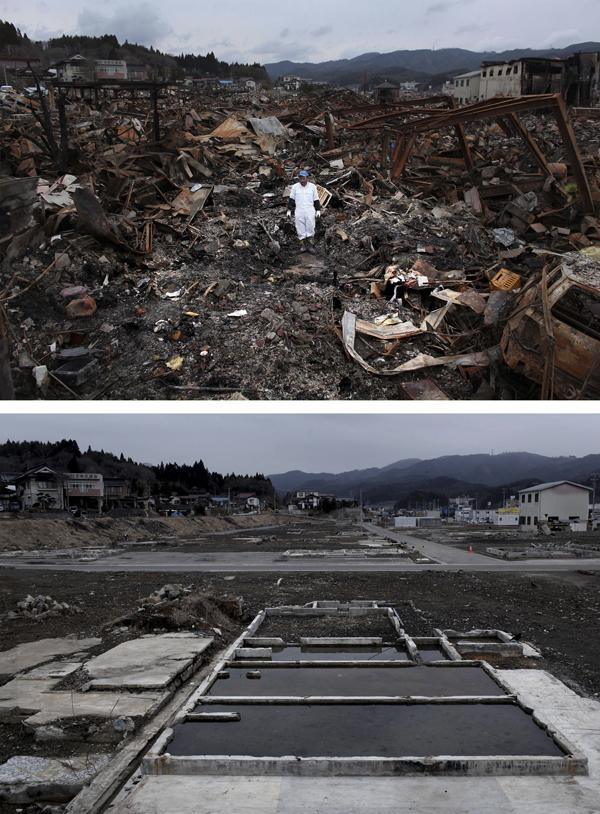 2012年3月8日,日本气仙泽市,上图是2011年3月21日Sigo Hatareyama在清理他房屋的废墟,下图为一年后此地的情景。 视觉中国 资料图