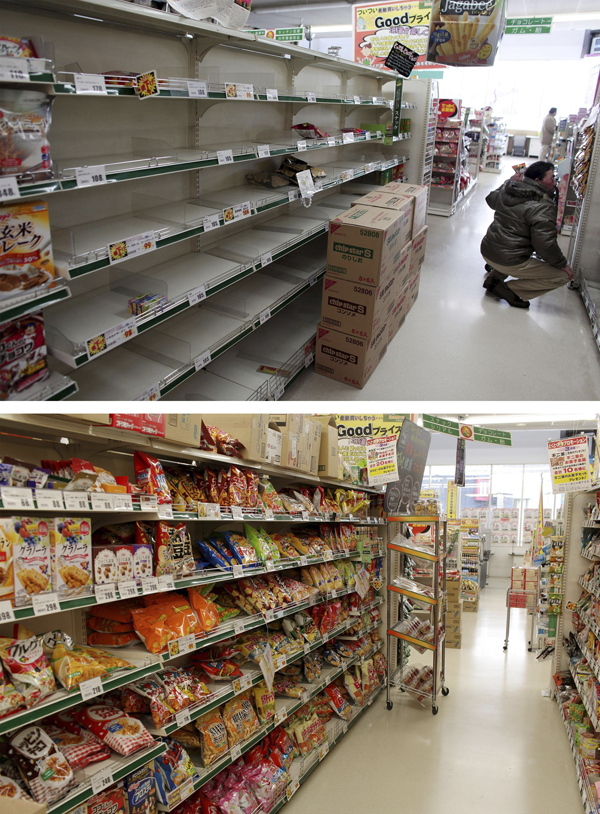 2012年3月8日,日本山形县,上图是2011年3月17日一名男子在超市空荡荡的货架中寻找食物,下图为一年后此地的情景。 视觉中国 资料图