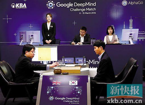 去年3月15日,棋手李世石九段(前右)与电脑程序AlphaGo进行对弈。此次比赛,AlphaGo以4:1的成绩大胜。