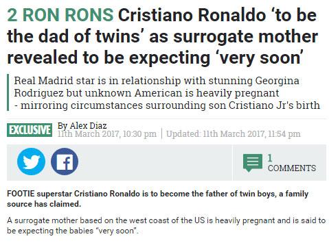 曝C罗将再次当爹喜迎双胞胎有女友仍选择代孕