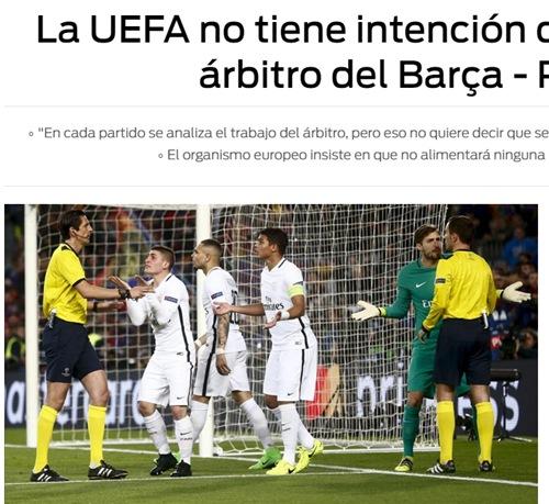 欧足联否认巴萨巴黎主裁遭罚知情人:这事完结