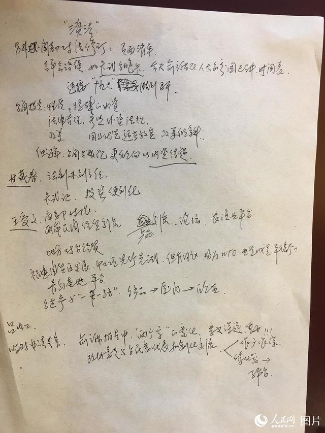这是全国政协委员张宁的参会笔记。张宁委员是一名台籍委员,他的笔记写满了委员们小组发言的重点。人民网记者 罗旭 摄_article_url', 'Content':'', 'Attributes':[], 'Children':[