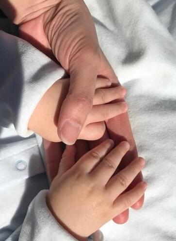 谢杏芳儿子的小胖手。