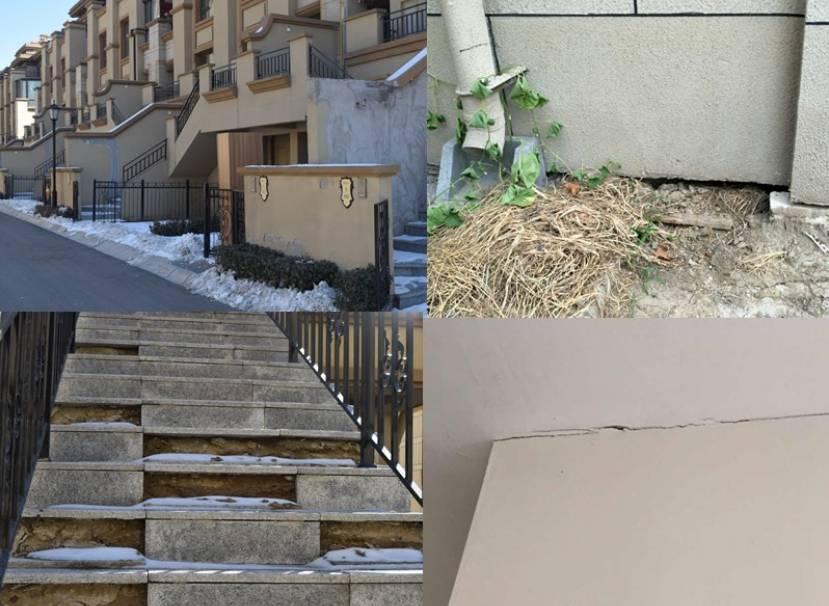 小区外墙修补痕迹明显。此外,还存在楼梯破损、墙体地面中空、裂缝等问题