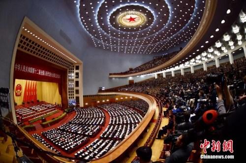 3月5日,十二届全国人大五次会议在北京人民大会堂开幕。中新社记者 金硕 摄