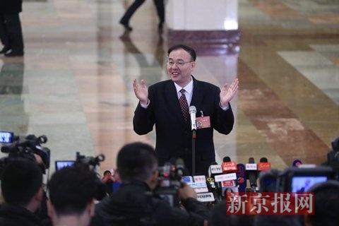 国家邮政局局长马军胜。新京报记者 薛�B 摄
