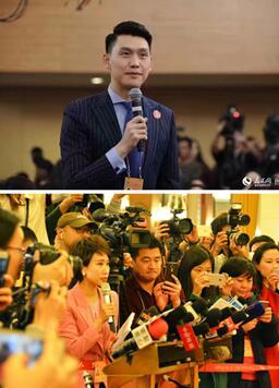 人民网记者郑紫豪、许博在记者会和部长通道提问