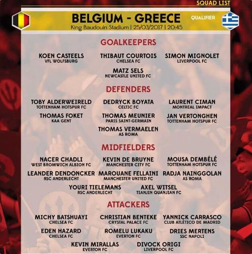 比利时大名单公布