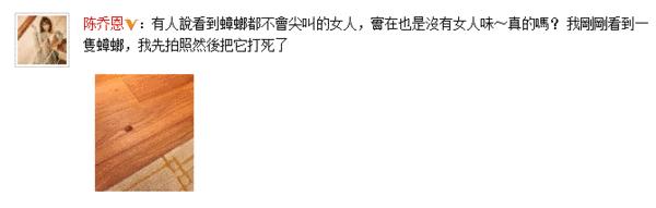 陈乔恩微博截图