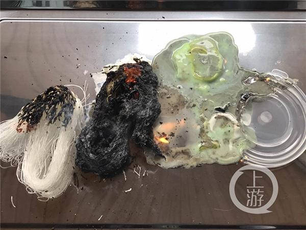 燃烧后粉丝会变成黑色的固体物质