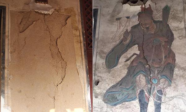 龙天庙殿外墙被盗壁画对比图