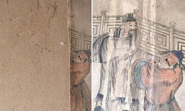 龙天庙戏台被盗壁画对比图