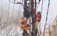 工人作业时触电 瞬间被烧焦