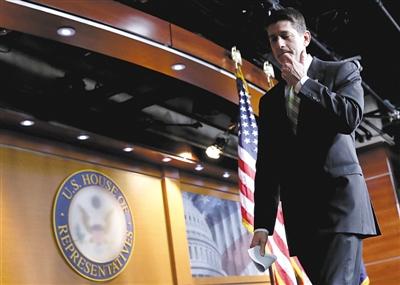 3月24日,美国华盛顿,由于无法获得足够的支持票,美国众议院议长保罗・瑞安宣布撤回原定当天下午表决的新医改议案。图/视觉中国