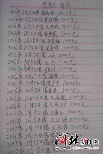 宋洋洋夫妇部分借款清单。