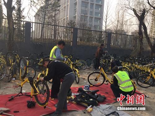 在北京某个共享单车维修点,修车师傅正在工作。中新网 吴涛 摄