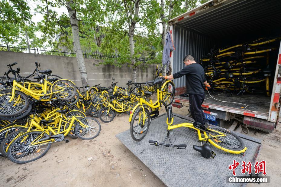 据了解,修车师傅平均每人一天可以修复20台左右的故障单车。图为物流公司将故障单车送至该维修点。 中新社记者 崔楠 摄