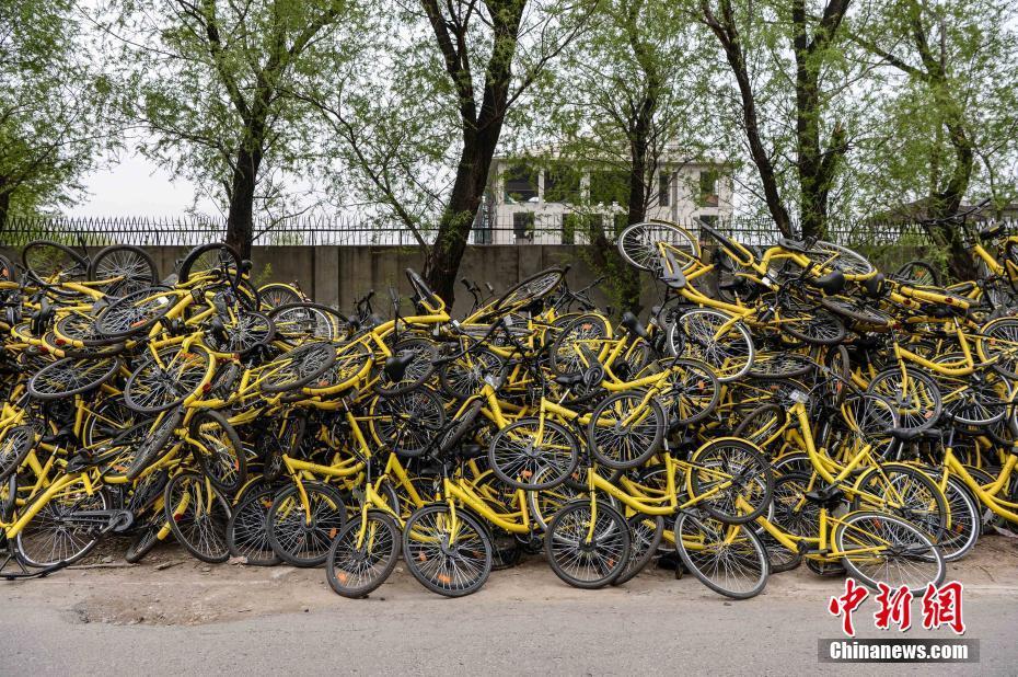 堆积如山的受损单车。 中新社记者 崔楠 摄