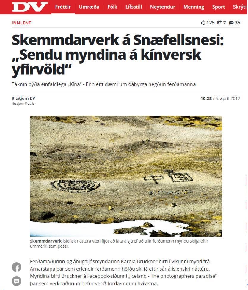 """疑中国游客在冰岛景区用石头摆""""中国""""当地人不满"""