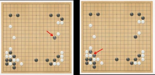 图左:第二局里,第37步,黑棋的落子位置 图右:之前貌似陷入困境的两个棋子。