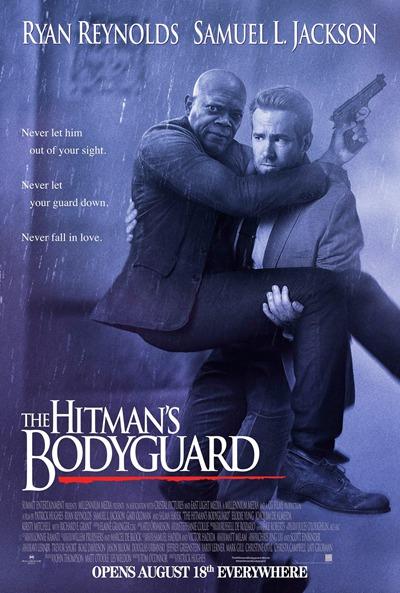 《杀手保镖》瑞安-雷诺兹抱着塞缪尔杰克逊模仿《保镖》海报