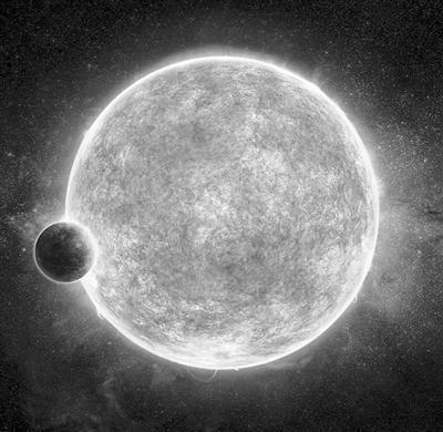 """主星LHS 1140与它的""""超级地球""""行星艺术效果图。"""