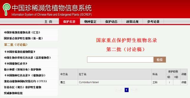 蕙兰被列入《中国珍稀濒危植物名录》第二批(讨论稿)