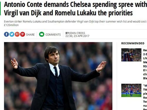 英媒:切尔西今夏砸1.2亿镑 购卢卡库+圣徒铁卫