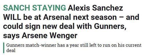 温格:桑切斯肯定留在阿森纳 总有一天我会离开