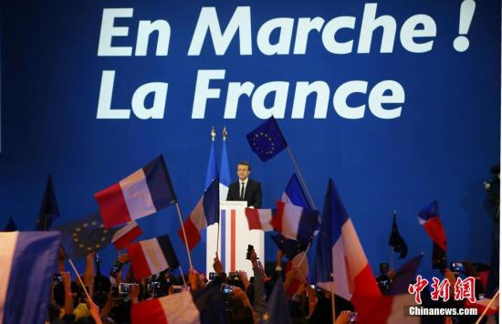 """法国中间派独立候选人、""""前进""""运动领导人艾曼努尔·马克龙。 中新社记者 龙剑武 摄"""