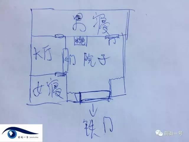 童亚萍绘制了遭囚禁的农家院示意图