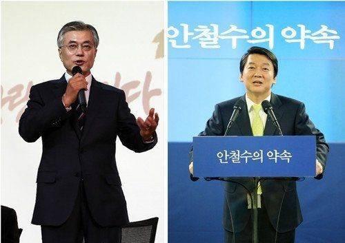 韩国总统候选人文在寅(左)和安哲秀(右) 图据网络