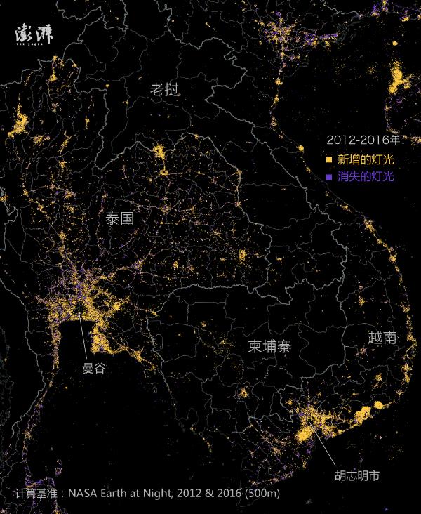 与印度和东南亚相反,欧洲总体而言呈现灯光减弱趋势。这可能受到了避免光污染的环保活动影响,也可能与经济体收缩、人口减少有关。新照明则出现在了北欧的芬兰和瑞典,以及土耳其。