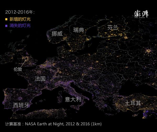 再把目光转到美国,可以看到中部灯光减弱,人口向东部迁移。德克萨斯州的 Odessa 市周边是灯光增量最显著的地区。