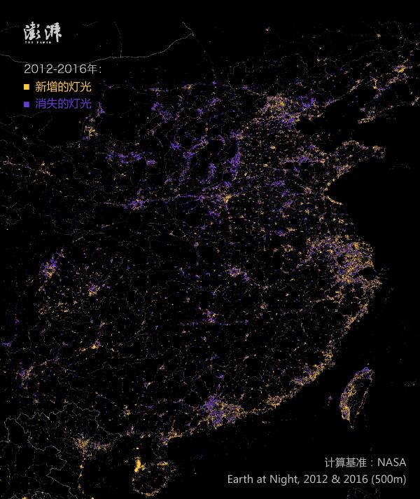 成渝及西南地区的灯光变化: