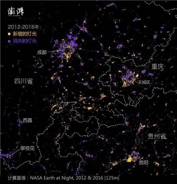 东北三省的灯光变化: